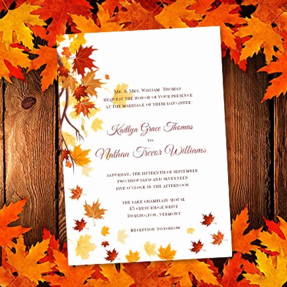 Fall Wedding Invitation Templates Best Of Printable Wedding Invitation Template Falling by
