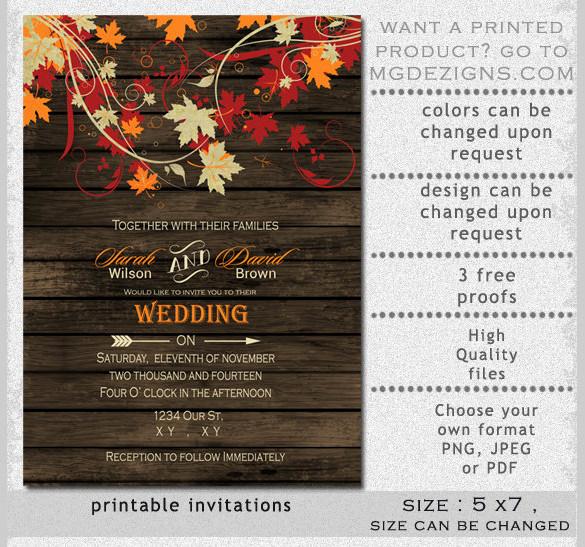 Fall Wedding Invitation Templates Elegant 26 Fall Wedding Invitation Templates – Free Sample