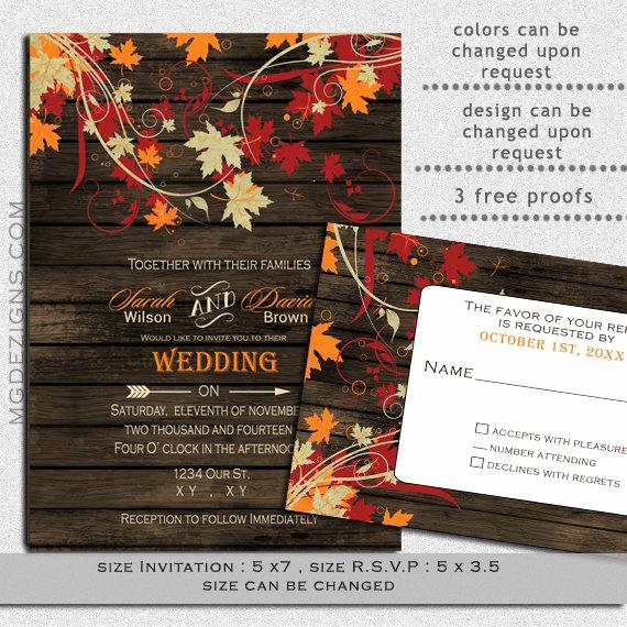 Fall Wedding Invitation Templates Elegant Printable Wedding Invitation Template Fall Wedding by