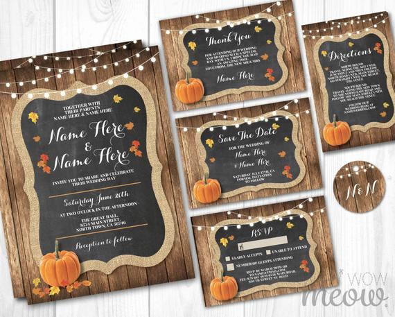 Fall Wedding Invitation Templates Elegant Pumpkin Wedding Invitations Set Template Fall Rustic Wood