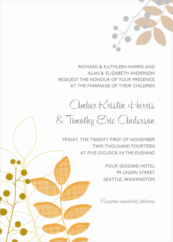 Fall Wedding Invitation Templates Lovely 26 Fall Wedding Invitation Templates – Free Sample