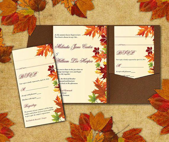 Fall Wedding Invitation Templates Lovely Diy Wedding Pocketfold Template Autumn Leaves Red orange