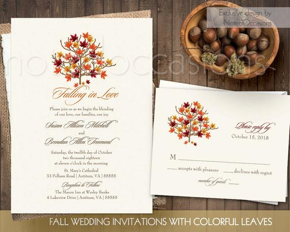 Fall Wedding Invitation Templates Unique Fall Wedding Invitation Set Printable Rustic by Notedoccasions