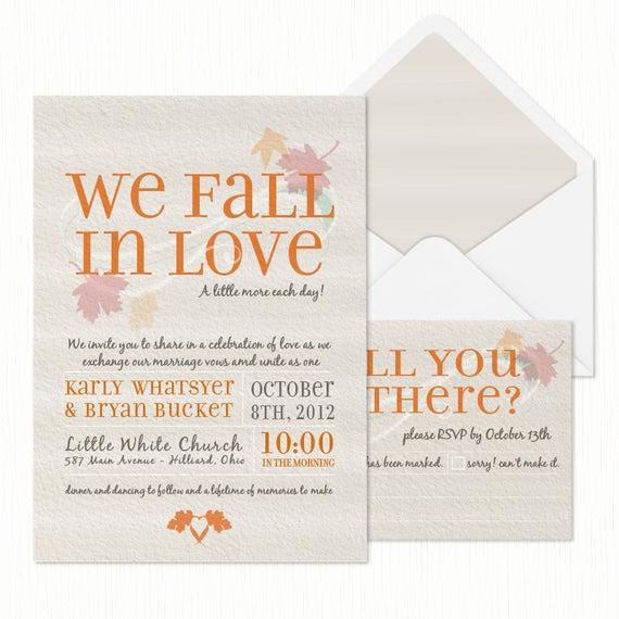 Fall Wedding Invitation Templates Unique We Fall In Love Wedding Invitation Printable
