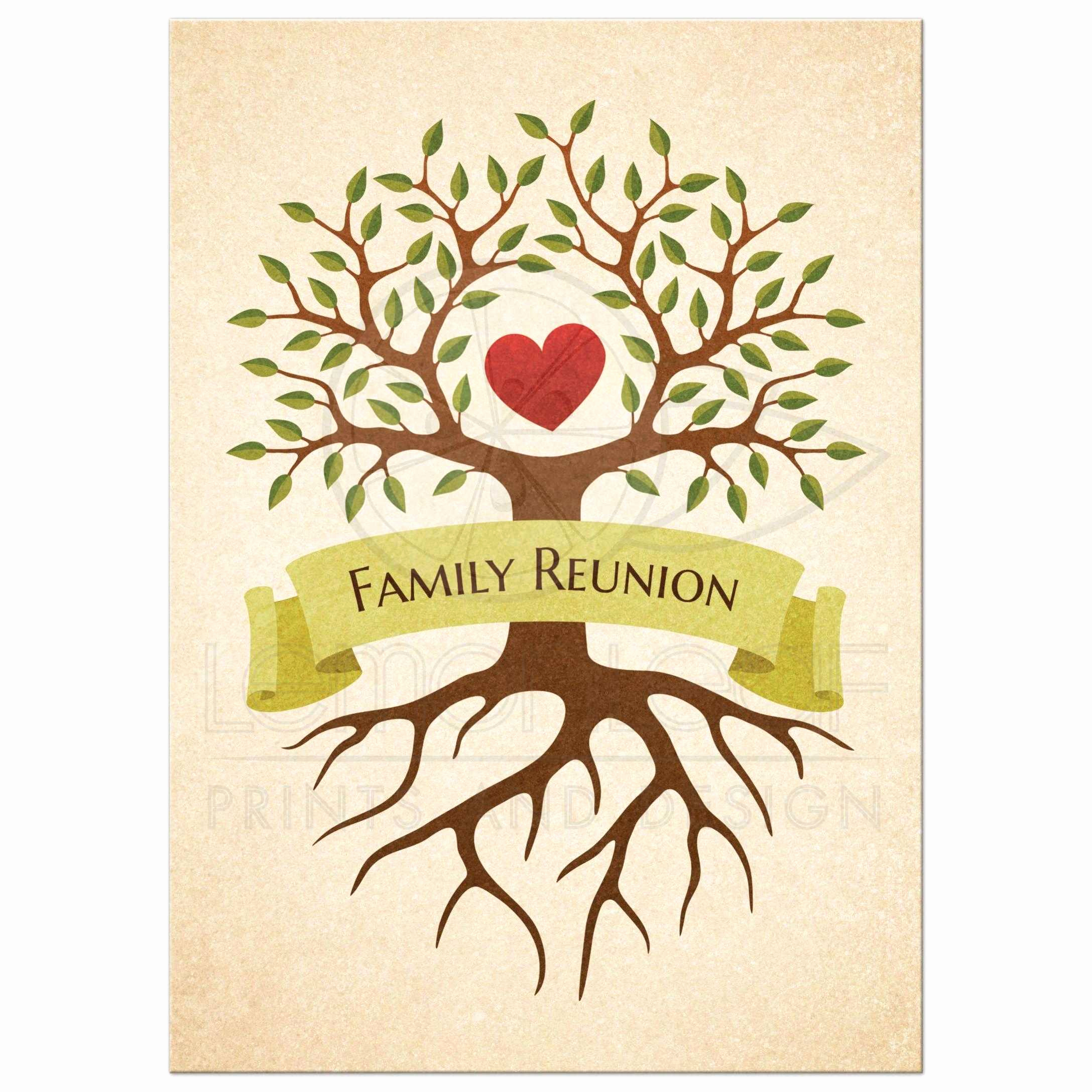 Family Reunion Invitation Ideas Awesome Family Reunion Invitations with Beautiful Heart Tree