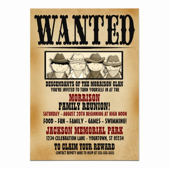 Family Reunion Invitation Ideas New Wanted Poster Family Reunion Barbeque Invitation