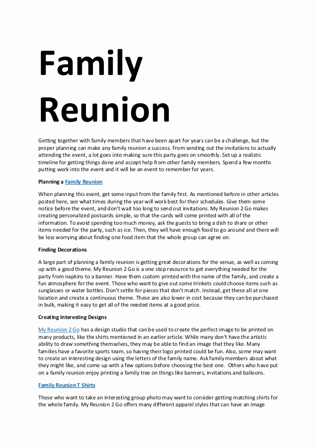 Family Reunion Invitation Letter Elegant Family Reunion
