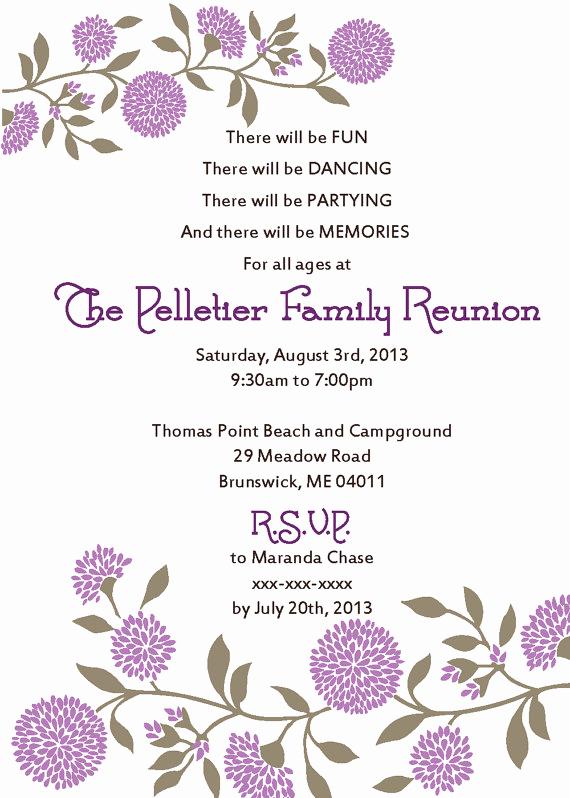 Family Reunion Invitation Sample Luxury Family Reunion Invitation