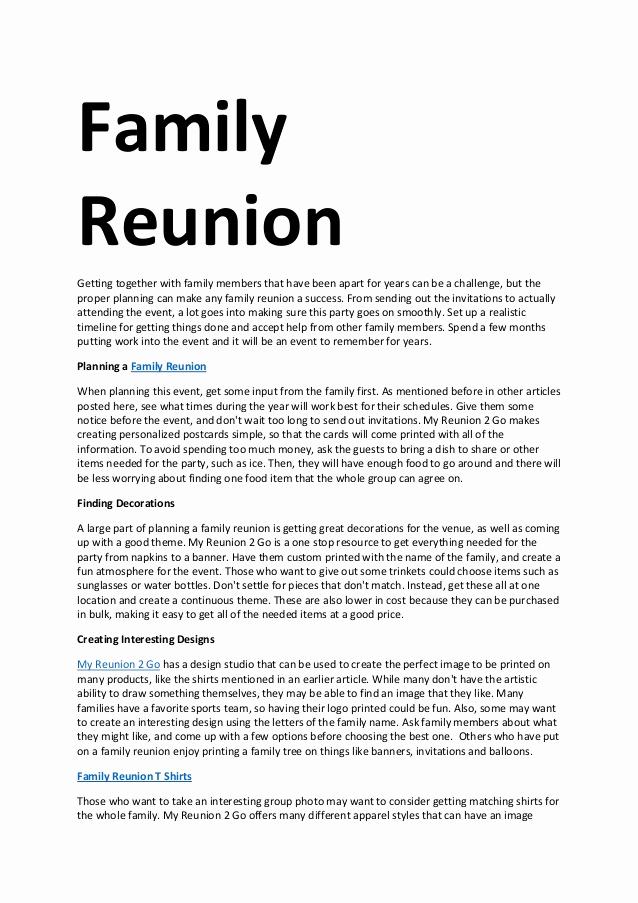 Family Reunion Invitation Sample Unique Family Reunion