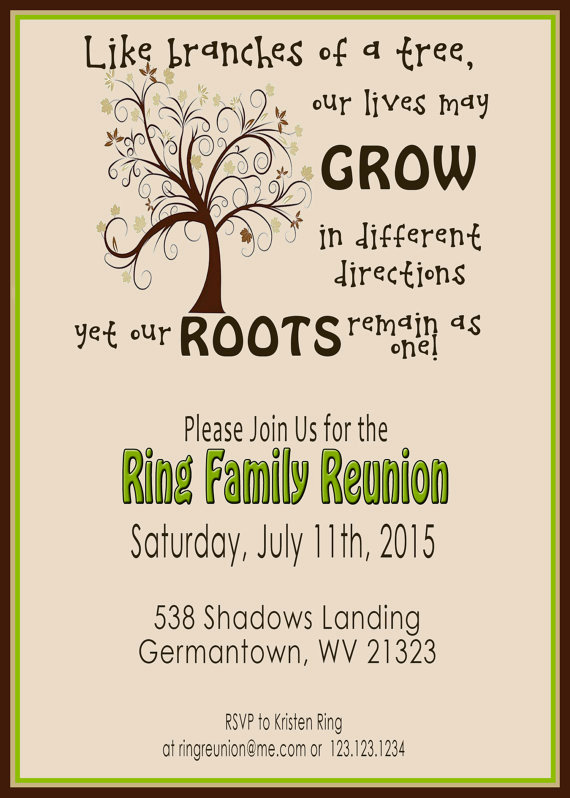Family Reunion Invitation Templates Best Of Family Reunion Invite Swirly Tree Printable Digital