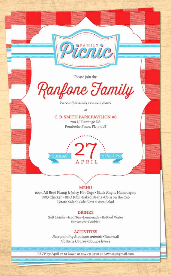 Family Reunion Invitation Templates Best Of Family Reunion Picnic Invitation Bbq Invitation 4th Of