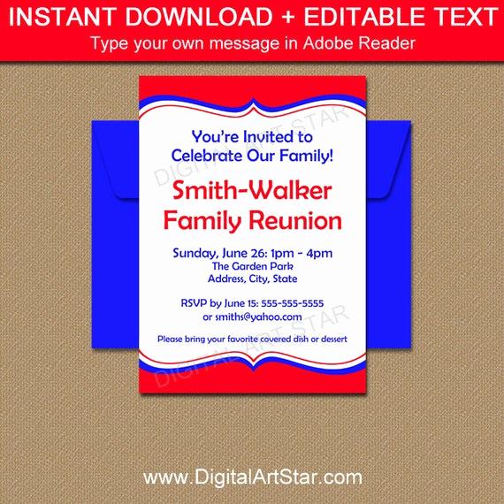 Family Reunion Invitation Templates Elegant Printable Family Reunion Invitation Template Editable Family