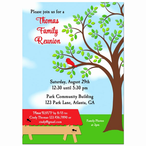 Family Reunion Invitation Templates Free Best Of Family Reunion Picnic Bbq Park Invitation Printable or