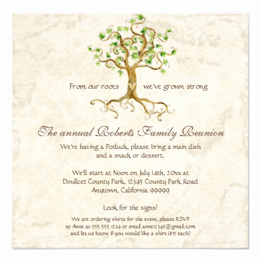 Family Reunion Invitation Templates Free Fresh Swirl Tree Roots Antiqued Family Reunion Invite 13 Cm X 13
