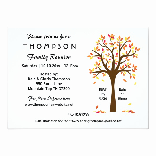 Family Reunion Invitation Wording Awesome Fall Family Reunion Party or event Invitation