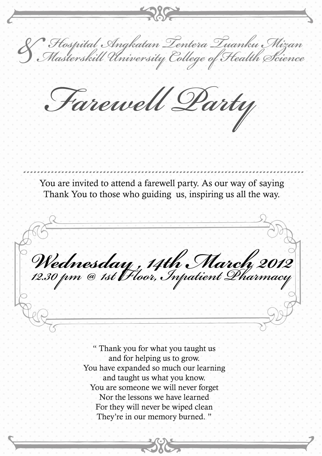 Farewell Party Invitation Wording Elegant Farewell Party Invitation Email