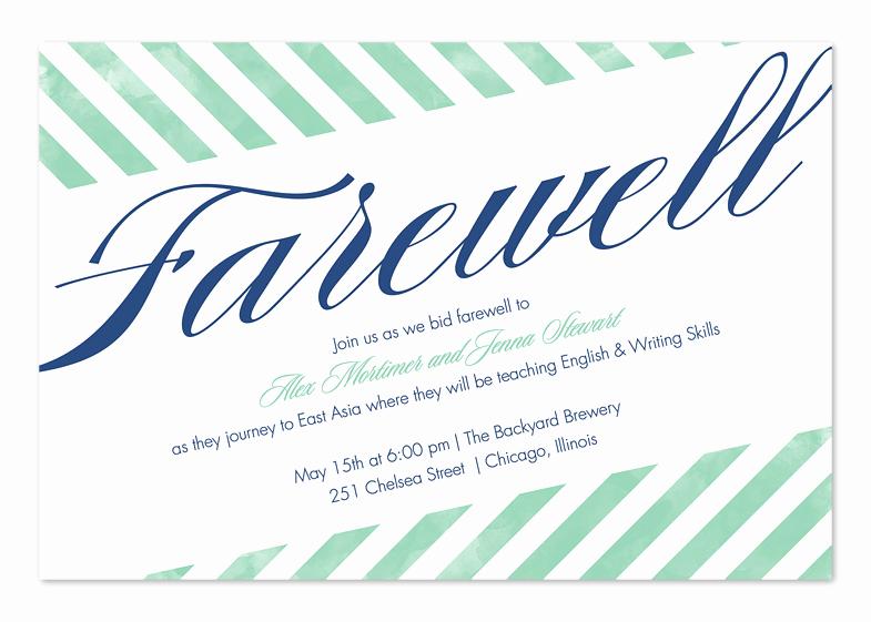 Farewell Party Invitation Wording Elegant Farewell Stripes Party Invitations by Invitation