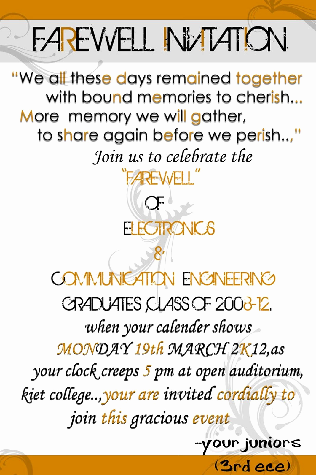 Farewell Party Invitation Wording Elegant Luncheon Invitation Wording Just B Cause
