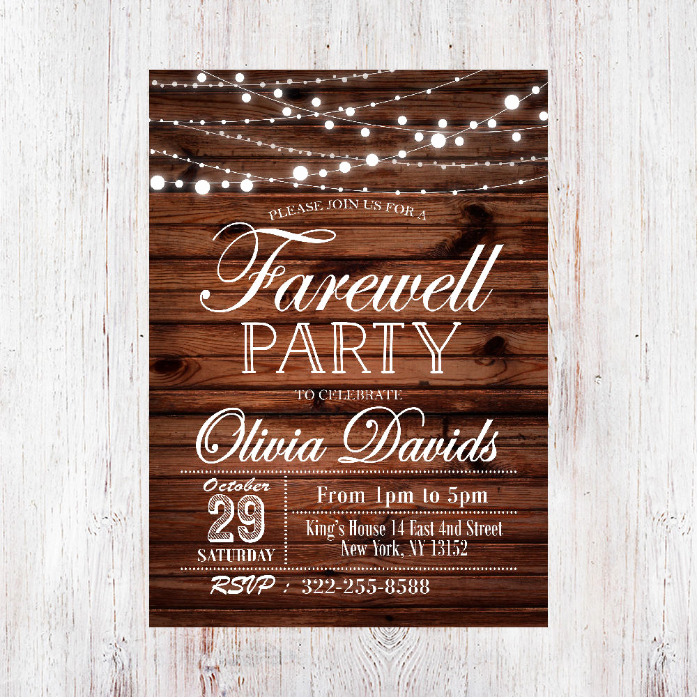 Farewell Party Invitation Wording Luxury Farewell Invitation Rustic Farewell Invitation Farewell