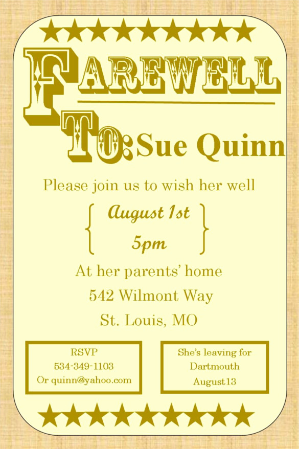 Farewell Party Invitation Wording New Farewell Party Invitation Template 29 Free Psd format