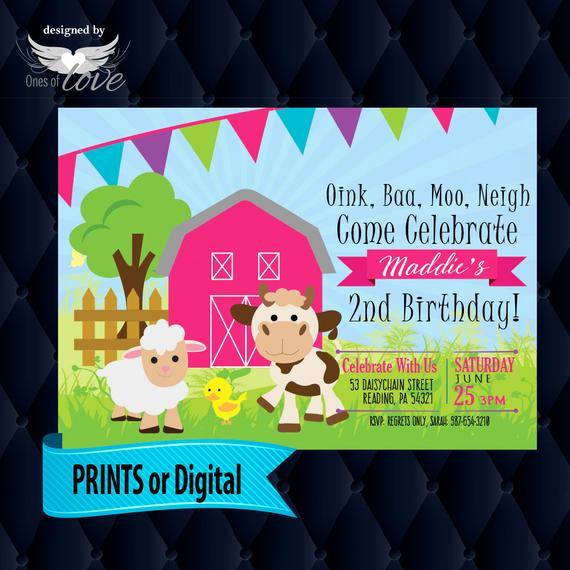 Farm Animal Birthday Invitation Awesome Farm Barn Animals Birthday Invitation Farm Animal Birthday