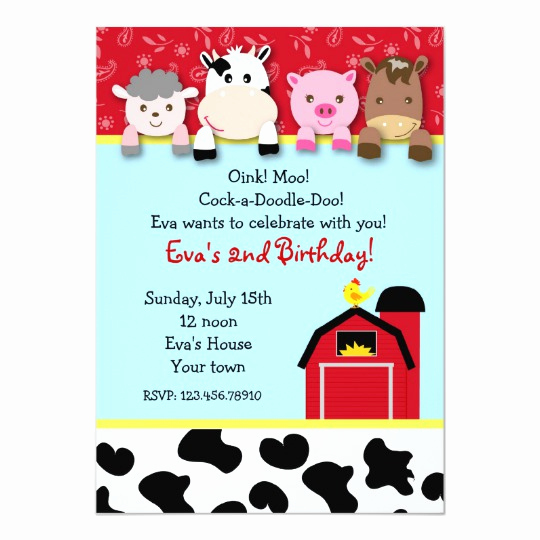 Farm Animal Birthday Invitation Beautiful Barnyard Farm Animals Birthday Party Invitations