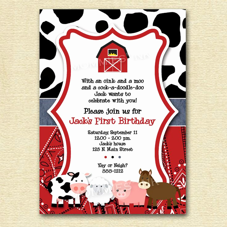 Farm Animal Birthday Invitation Best Of Farm Invitation Farm Animals Birthday Party Invite Farm