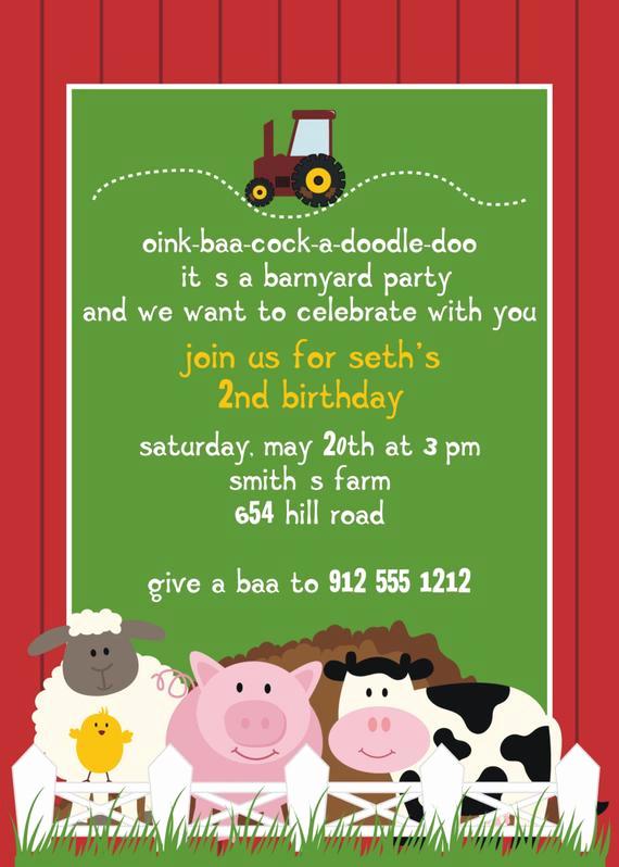 Farm Animal Birthday Invitation Elegant Farm Animal Birthday Party Invitation by Invitingfriendz