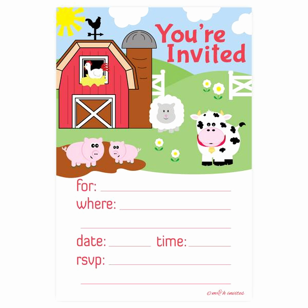 Farm Animal Birthday Invitation Elegant Farm Animals Birthday or Baby Shower Invitations