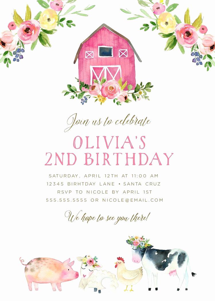 Farm Animal Birthday Invitation Elegant Farm Birthday Party Girl Barnyard Birthday theme