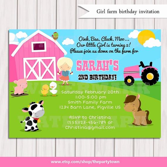 Farm Animal Birthday Invitation Elegant Girls Farm Birthday Invitation Girls Barn Animals Pig