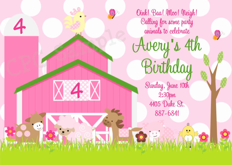 Farm Animal Birthday Invitation Elegant Pink Farm Birthday Invitation Pink Farm Invitations