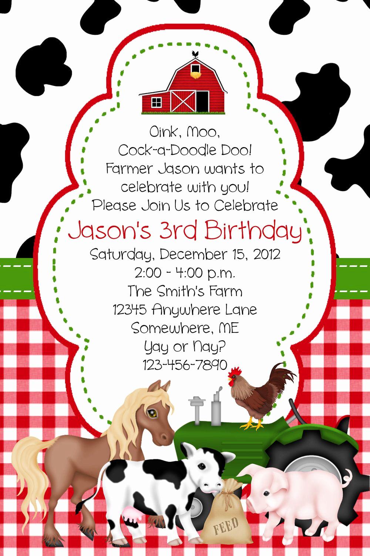 Farm Animal Birthday Invitation Inspirational Farm Animal Birthday