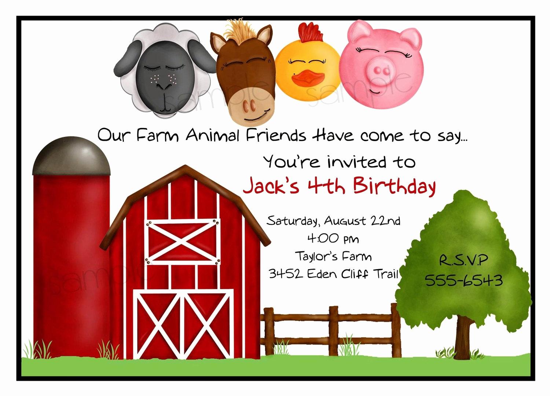 Farm Animal Birthday Invitation Inspirational Farm Invitations Farmparty Farm Animal by Littlebeaneboutique