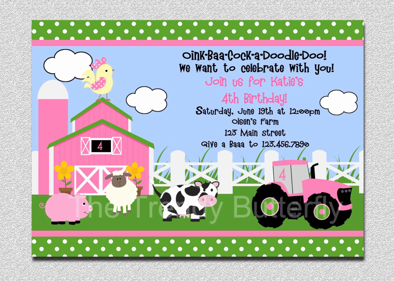 Farm Animal Birthday Invitation Lovely Farm Invitation Girls Farm Invitation Pink Farm Invitation