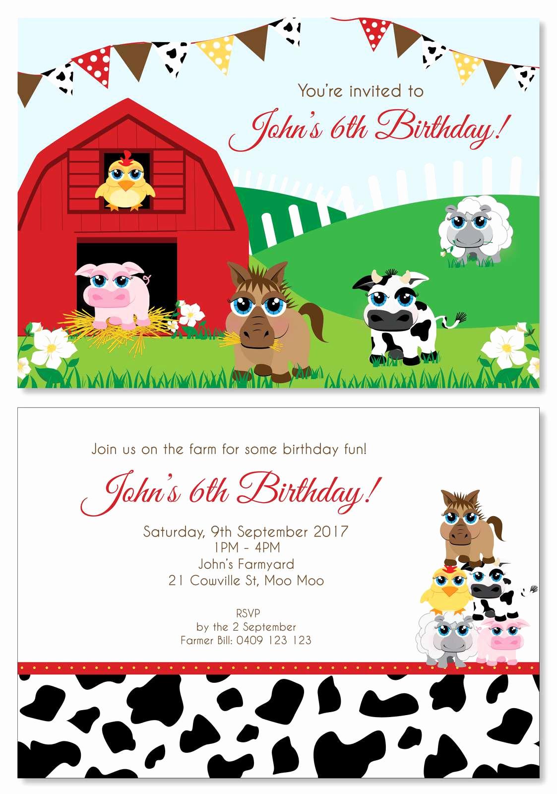 Farm Animal Birthday Invitation Luxury Farm Animal Party Personalised Party Invitations Custom