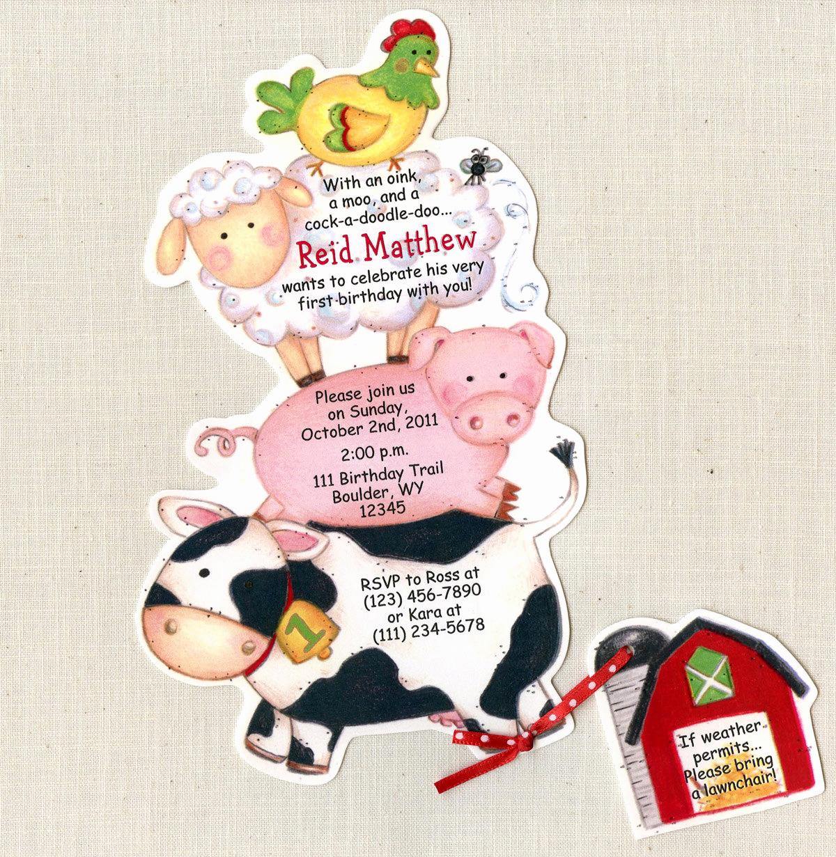 Farm Animal Birthday Invitation New 22 Farm Animal Birthday Party Invitations by Artfullyinvited