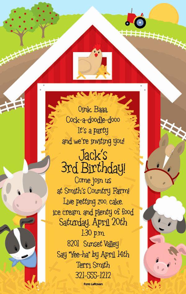 Farm Animal Birthday Invitation Unique Farm Party Invitations On Pinterest