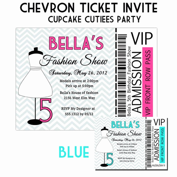 Fashion Show Invitation Template Awesome Fashion Show Ticket Digital Custom Invitation Card Printable