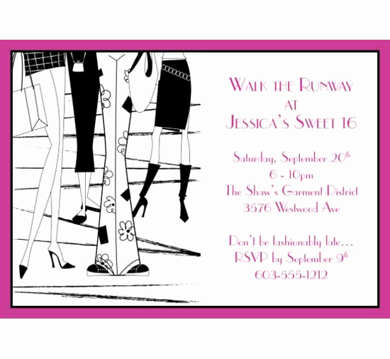 Fashion Show Invitation Template Lovely Fashion Party theme Invitation