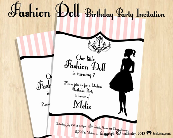 Fashion Show Invitation Template New Birthday Party Invitations Fashion Doll Party Printable