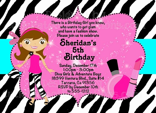 Fashion Show Invitation Template New Glamour Girl Birthday Invitation Printable or Printed