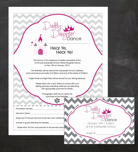 Father Daughter Dance Invitation Luxury Daddy Daughter Dance event Custom Printable Package