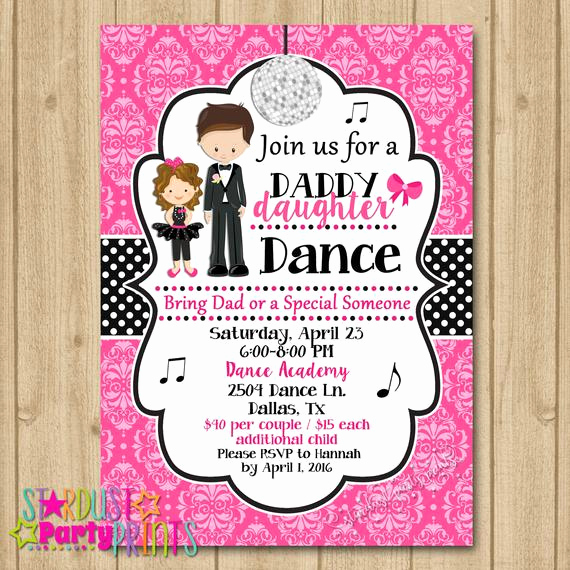 Father Daughter Dance Invitation Luxury Father Daughter Dance Invitation Dance Party Invitation