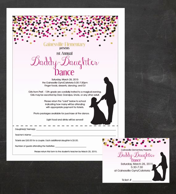 Father Daughter Dance Invitation Template Awesome Daddy Daughter Dance Father and Daughter Dancing event