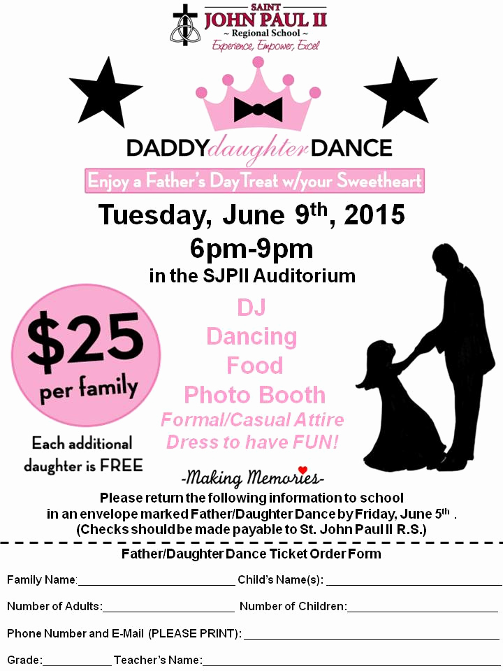 Father Daughter Dance Invitation Template Awesome Daddy Daughter Dance Flyer – St John Paul Ii Regional School