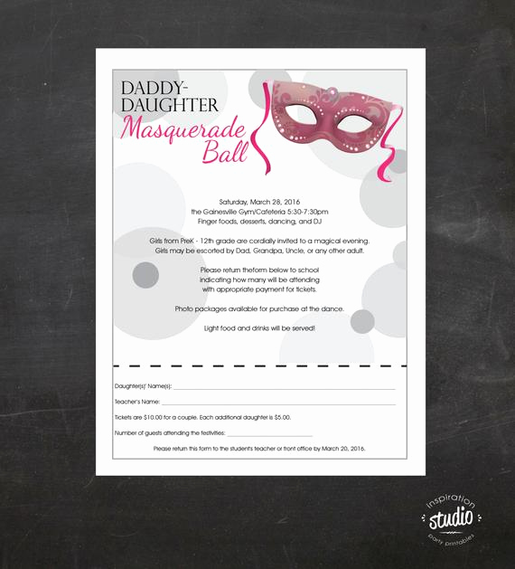Father Daughter Dance Invitation Template Beautiful Daddy Daughter Dance Masquerade Ball event Custom