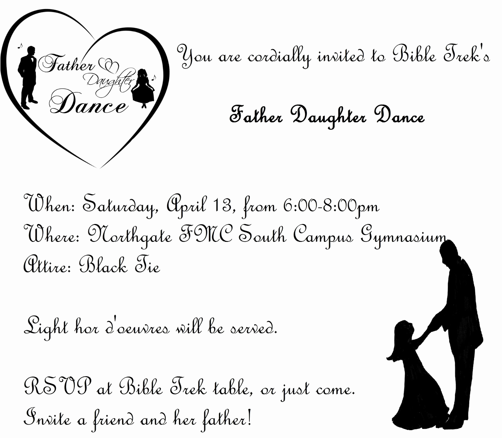 Father Daughter Dance Invitation Template Fresh northgate Kids April 2013