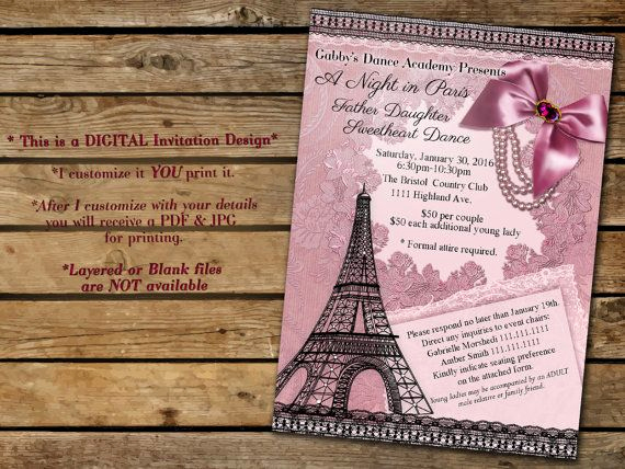 Father Daughter Dance Invitation Template New A Night In Paris Father Daughter Dance Invitation