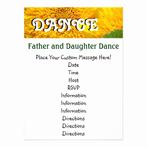 Father Daughter Dance Invitation Template New Father and Daughter Dance Invitations Cards Flower